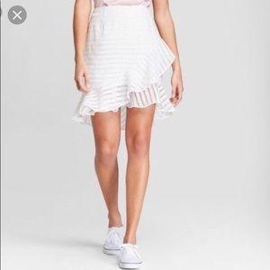 White front ruffle asymmetric skirt